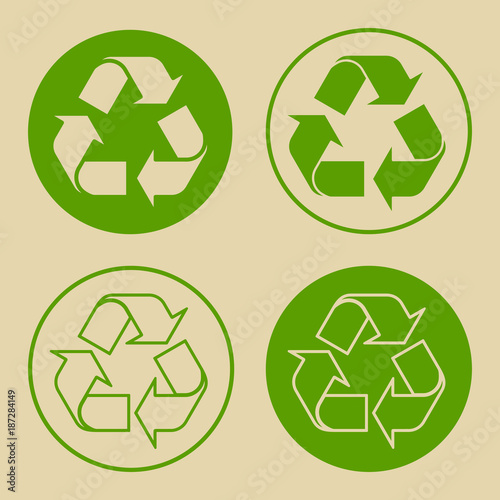 Vector Illustration Of Green Recycle Symbol Set Of Recycling Sign