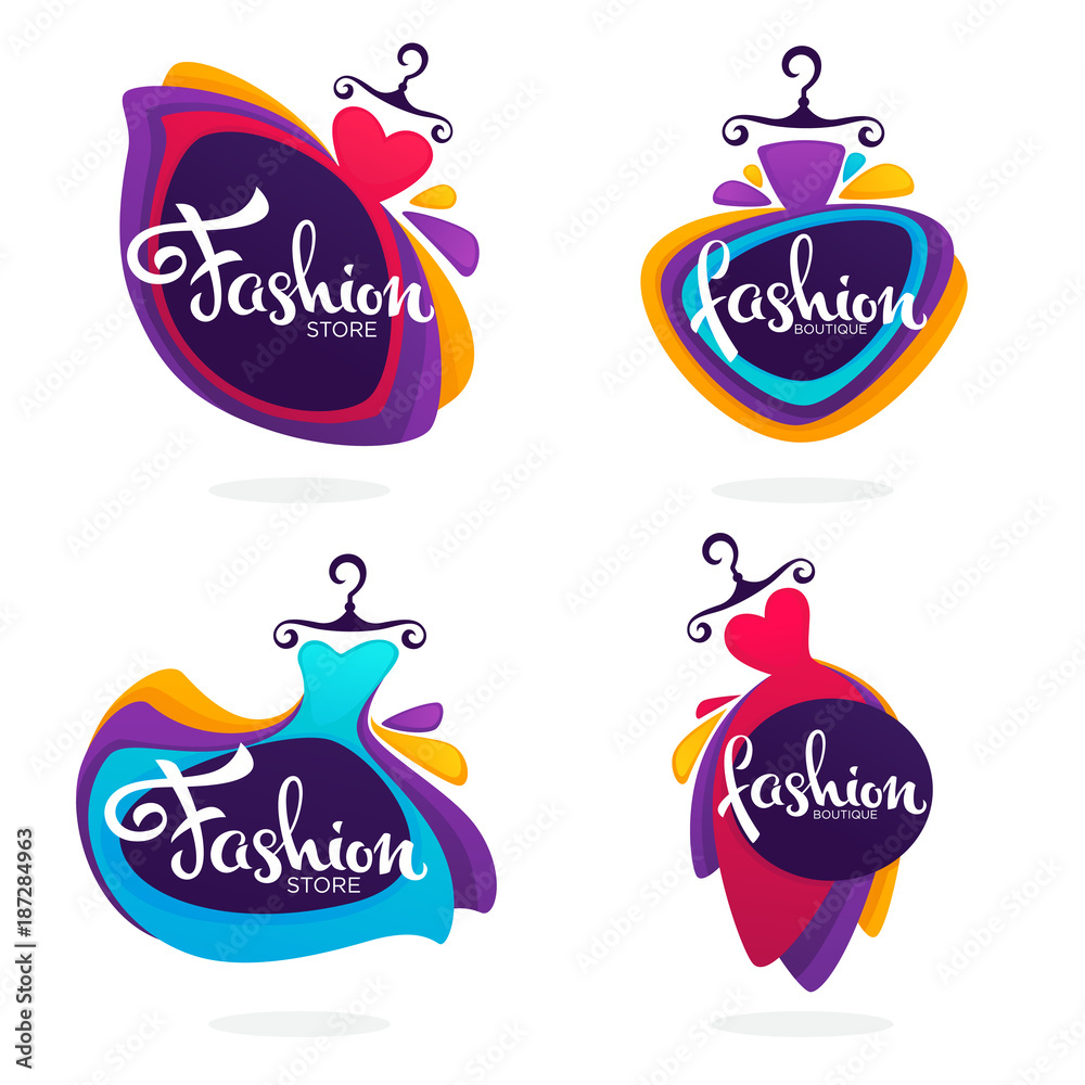vector collection of fashion boutique and store logo, label, emblems with bright baloon dresses and lettering composition <span>plik: #187284963 | autor: ehidna</span>