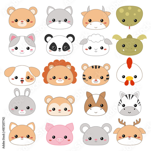Vector illustration of animal faces. Poster