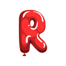 Cartoon Letter R Made Of Red Air Balloon. Original English Alphabet Font. Funny Education Card. Isolated Flat Vector Design For Magnet, Postcard Or Poster