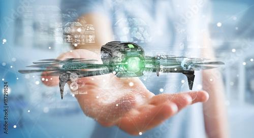 Fototapeta Businessman using modern drone 3D rendering obraz