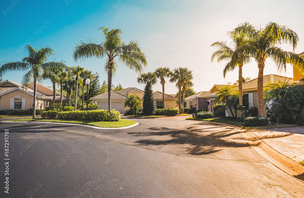 Fototapety, obrazy: Typical gated community houses with palms, South Florida. Light effect applied