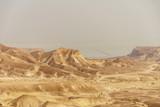 Beautiful nature desert in dry judean picturesque wilderness. Outdoor scenic landscape