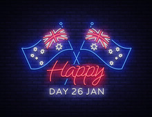 January 26th On Australia Day. Neon Sign, Luminous Banner, Bright Night Advertising, Neon Billboard. National Conceptual Greeting Card, Poster Or Low-polyity Web-banner Design. Vector Illustration