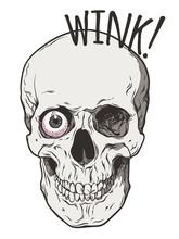 Human Skull Winks With One Eye...