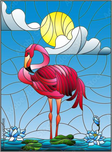 ilustracja-w-stylu-witrazu-z-flamingo-kwiaty-lotosu-i-trzciny-na-staw-w-sloncu