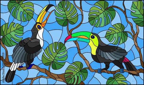 ilustracja-w-stylu-witrazu-para-ptakow-toucan-na-galezi-drzewa-tropikalne-p