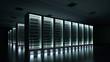 Leinwandbild Motiv Data center dark with glowing servers 3d rendering