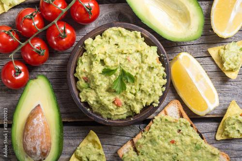 Fotografie, Obraz  Guacamole with ingredients