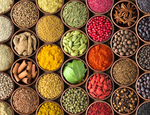 Spices And Herbs Background. C...
