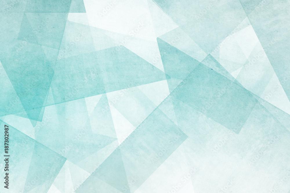Fototapety, obrazy: Mosaiksteine - türkis und weiß Abstrakter Hintergrund Design