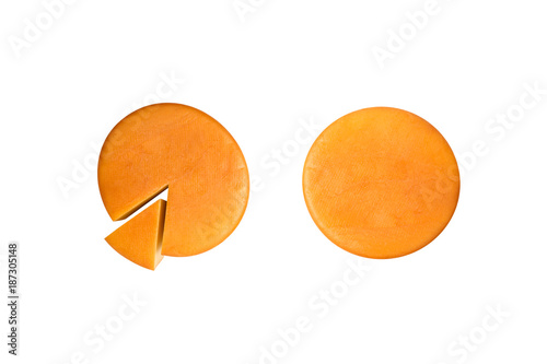Cheese wheel on white background