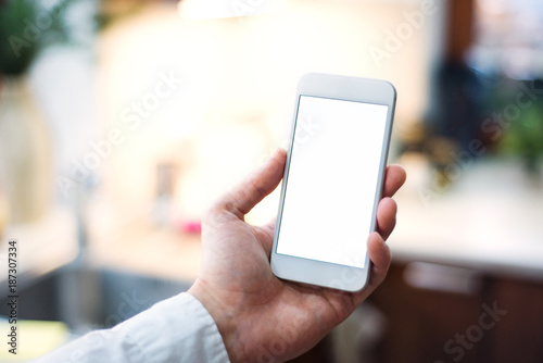 Mockup image of smartphone with blank white screen.