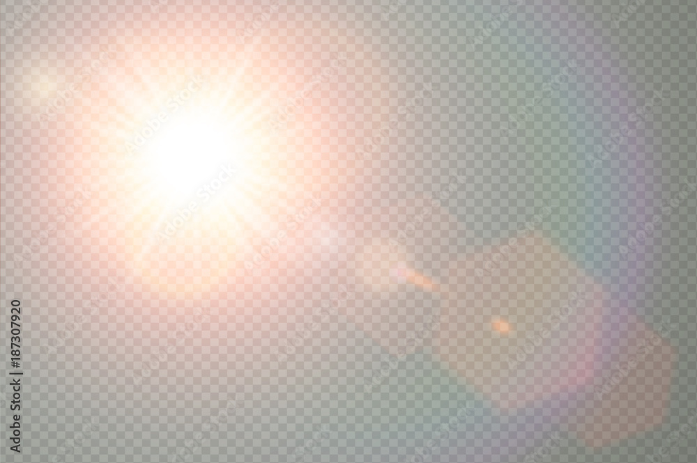 Fototapety, obrazy: Vector transparent sunlight special lens flare light effect. Sun flash with warm rays and spotlight. Abstract translucent decor element design. Isolated star burst in sky.