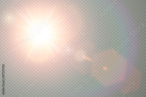 fototapeta na ścianę Vector transparent sunlight special lens flare light effect. Sun flash with warm rays and spotlight. Abstract translucent decor element design. Isolated star burst in sky.