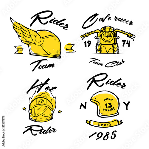 Cuadros en Lienzo Moto biker theme, icon set. Cafe racer. Golden