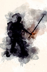 shadow warior with sword an...