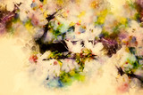 Spring flowers, Spring blossom background and softly blurred watercolor background.