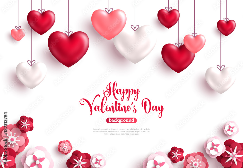 Fototapety, obrazy: Valentine's day background with paper cut flowers