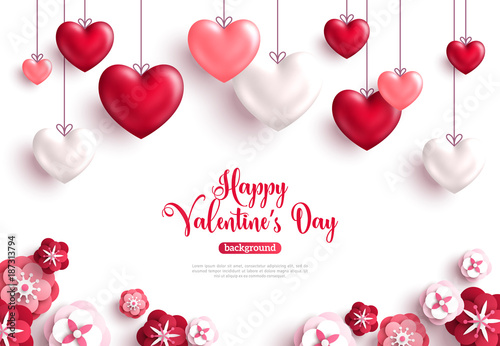 Fotografie, Obraz  Valentine's day background with paper cut flowers