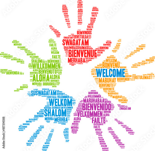 International Welcome Word Cloud Wallpaper Mural