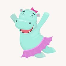Happy Jumping  Hippo Girl Char...