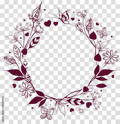 Round frame floral ornament on transparent background Poster