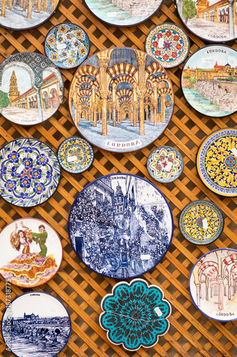 Ceramics plates at local souvenir shop in Cordoba, Andalusia, Spain