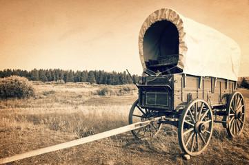 Vintage american western wagon, sepia vintage process, West American cowboy t...