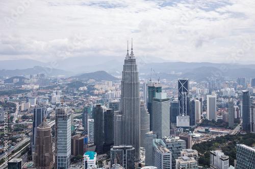 Fototapeta City center with Petronas twin towers, Kuala Lumpur skyline obraz na płótnie