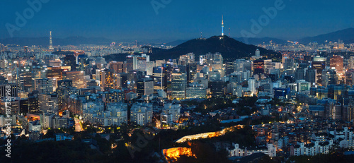 Photo  Panorama of Seoul at Night