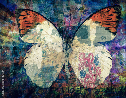 Fotobehang Vlinders in Grunge grunge Butterfly background texture
