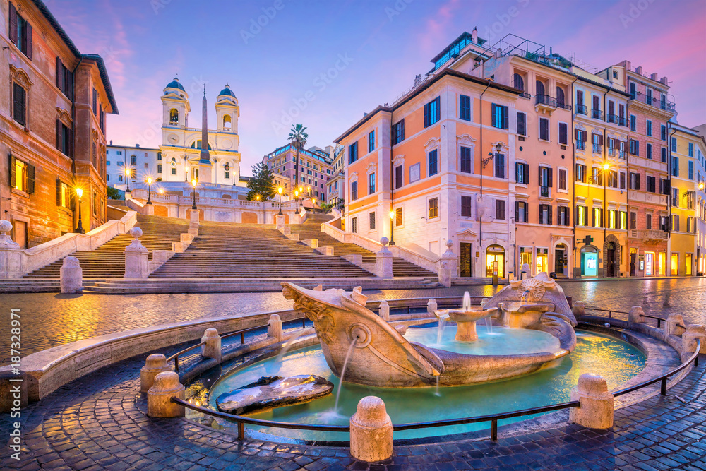 Fototapety, obrazy: Spanish Steps in the morning, Rome