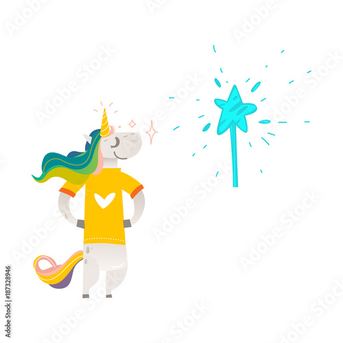 In de dag Ridders Vector cartoon stylized unicorn character standing in yellow tshirt with heart print colorful hair and horn, magic wand with star. Fairy mysterious creature, isolated illustration white background