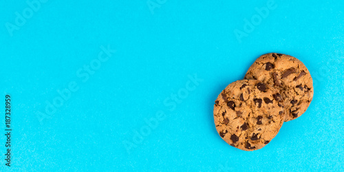 Photo cookies on a blue background panorama