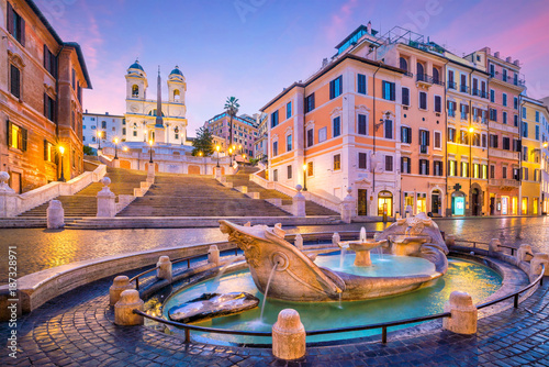 Photo sur Toile Europe Centrale Spanish Steps in the morning, Rome