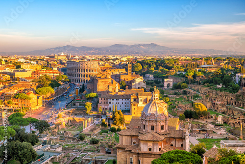 plakat Top view of Rome city skyline from Castel Sant'Angelo