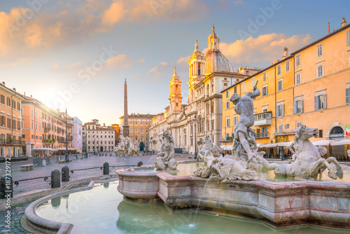 Canvas Prints Rome Fountain of Neptune on Piazza Navona, Rome, Italy
