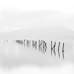 Fototapeta Morze Beautiful long exposure black and white minimalistic scene.