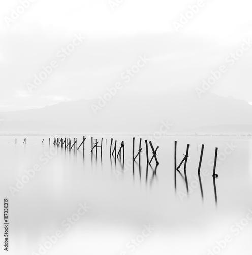 Beautiful long exposure black and white minimalistic scene.