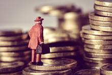 Miniature Traveler On A Pile O...