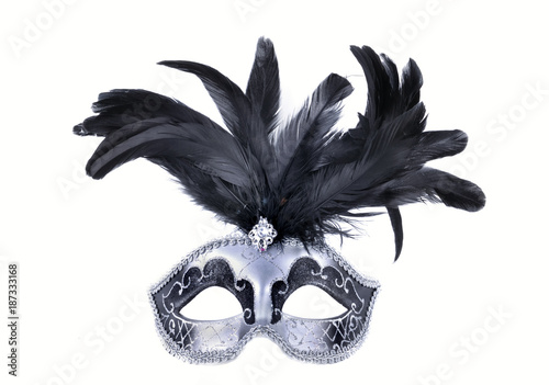 beautiful carnival mask with feather on white backgroung,
