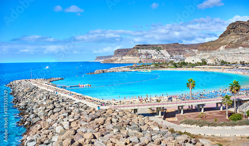 Poster Canary Islands Bay of Amadores Beach in Gran Canaria in Spain / Beach not far from Playa del Ingles