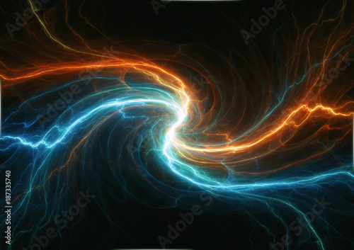 Photo  Swirling fire and ice plasma lightning, abstract electrical background