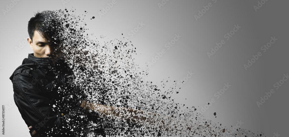 Fototapety, obrazy: dispersion effect of asian man body shattering