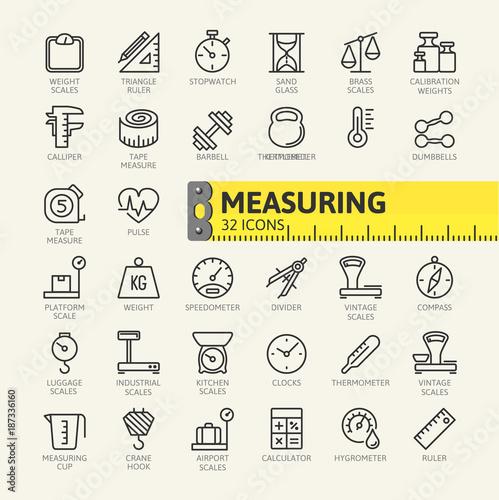 Carta da parati Measuring, measure elements - minimal thin line web icon set