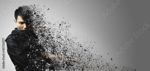 dispersion effect of asian man body shattering Canvas Print