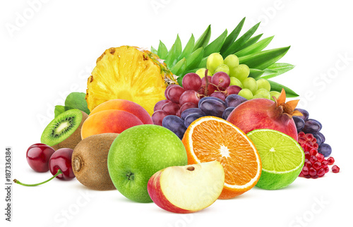Heap of different fruits and berries isolated on white background