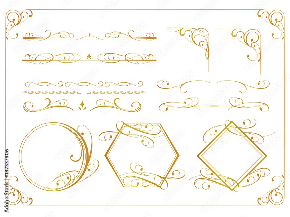 Fototapeta 金のアンティーク飾り罫セット