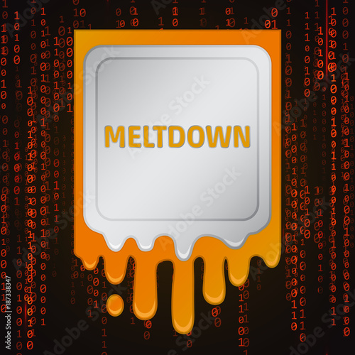 Photo  Meltdown vulnerability concept on a binary code background